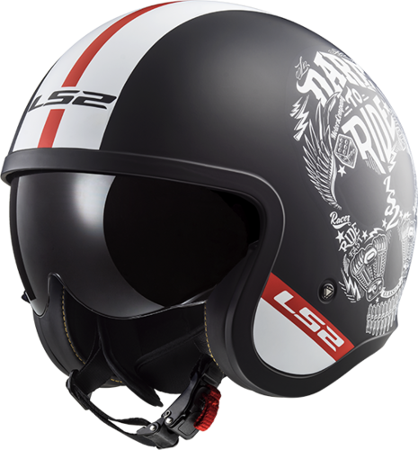 Casco LS2 SPITFIRE OF599 INKY Matt Black White