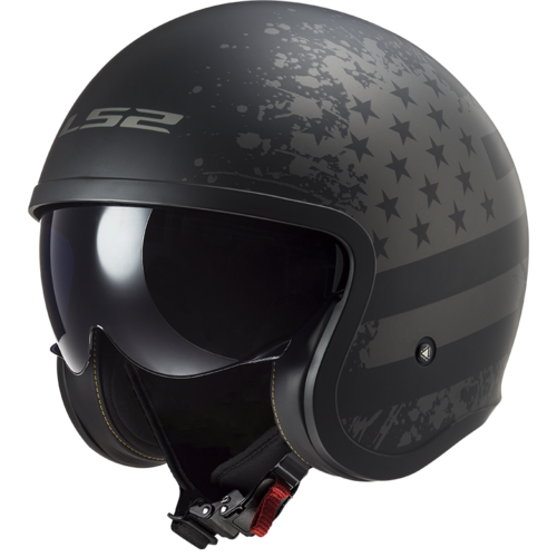 Casco LS2 SPITFIRE OF599 BLACK FLAG MATT Black Titanium